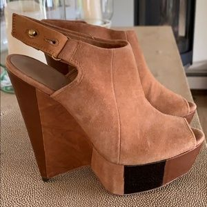 Shoes - L.A.M.B. Guru Suede Wedge Booties size 6